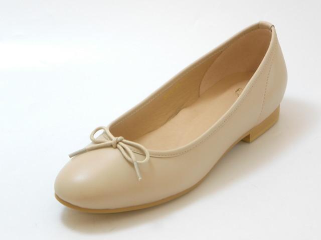 Fin フィン本革ぺたんこバレエシューズ(ベージュ)レディース シューズ 靴