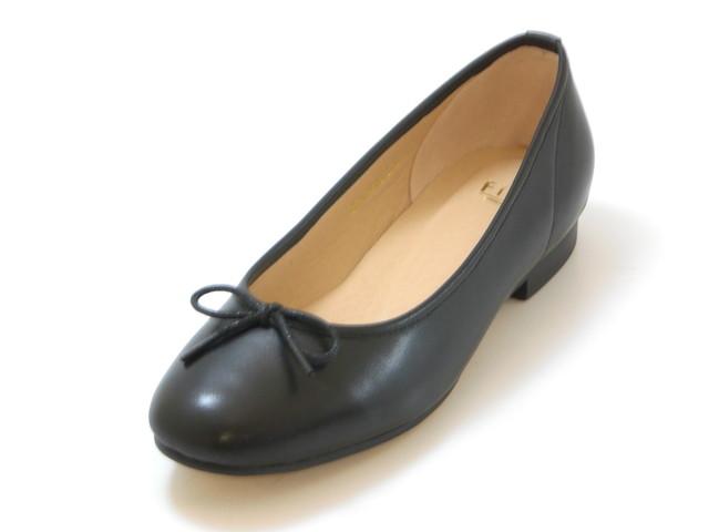 Fin フィン本革ぺたんこバレエシューズ(ブラック)レディース シューズ 靴