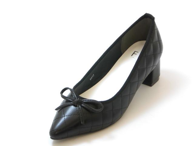 Fin フィンキルティング ポインテッドバレエパンプス (ブラック)レディース シューズ 靴