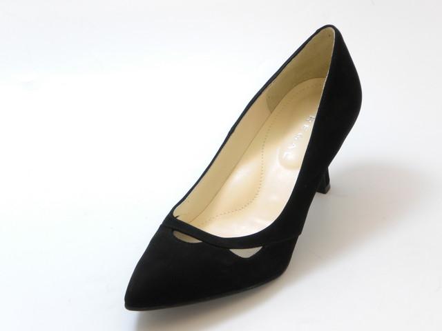 REGAL リーガルポインテッドトゥ スエードパンプス(ブラックスエード)レディース シューズ 靴