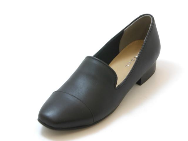 REGAL リーガルスクエアトゥ カジュアルスリッポンシューズ(ブラック)レディース シューズ 靴
