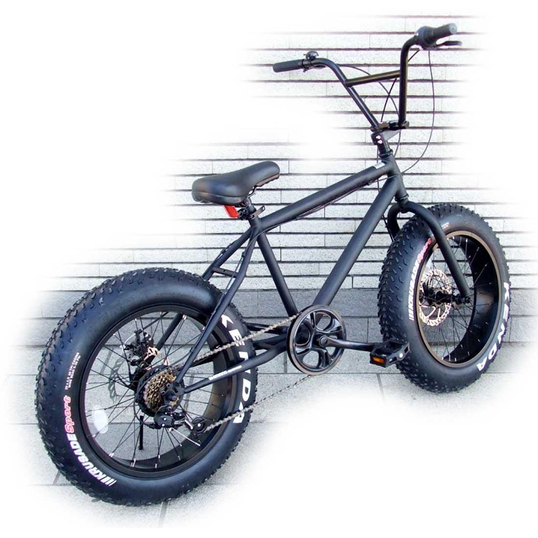 ファットバイク 20インチ 極太タイヤ 変速付 おしゃれ 自転車 通勤 通学 店長 おすすめ ラナイマカイ 20インチ ファットバイク マットブラック×ブラックリム メンズ レディース