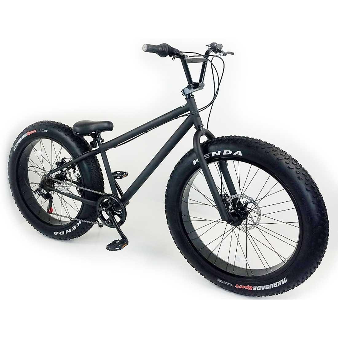 ファットバイク 26インチ 極太タイヤ 変速付 おしゃれ 自転車 通勤 通学 店長 おすすめ ラナイマカイ 26インチ ファットバイク マットブラック×ブラックリム メンズ レディース