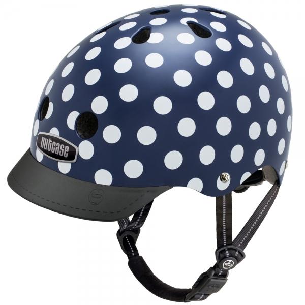 【ヘルメット】NUTCASE GEN-3デザイン:Navy Dotsサイズ:S(約52~56cm)M(約56~60cm) L(約60~64cm)安全でデザインも豊富、どうせならカッコいい方がいい!!