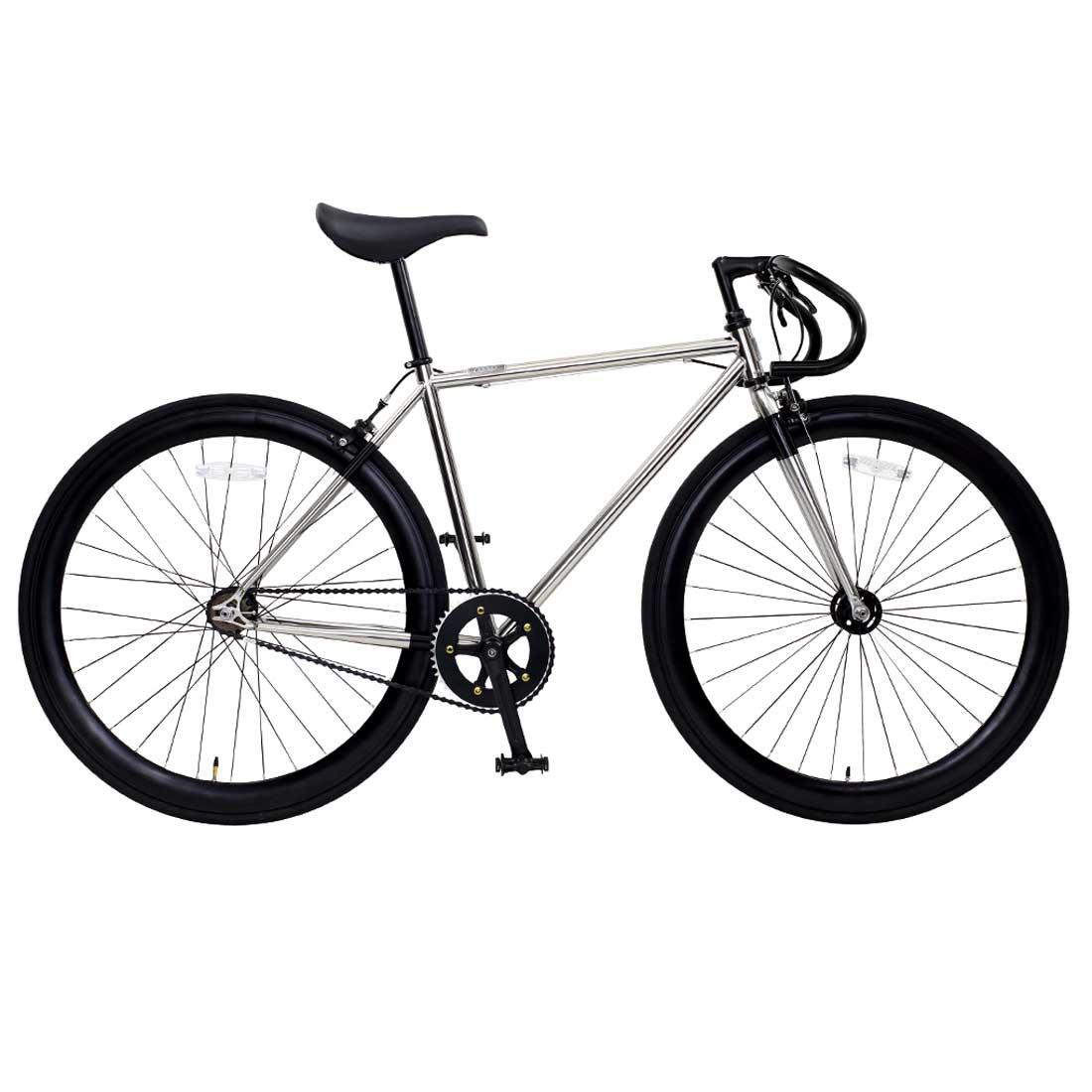 ピスト 700C シングルスピード ディープリム クロスバイク ロードバイク おしゃれ 自転車 通勤 通学 OSSO R100-CR ホワイトゴールド オッソ メンズ レディース