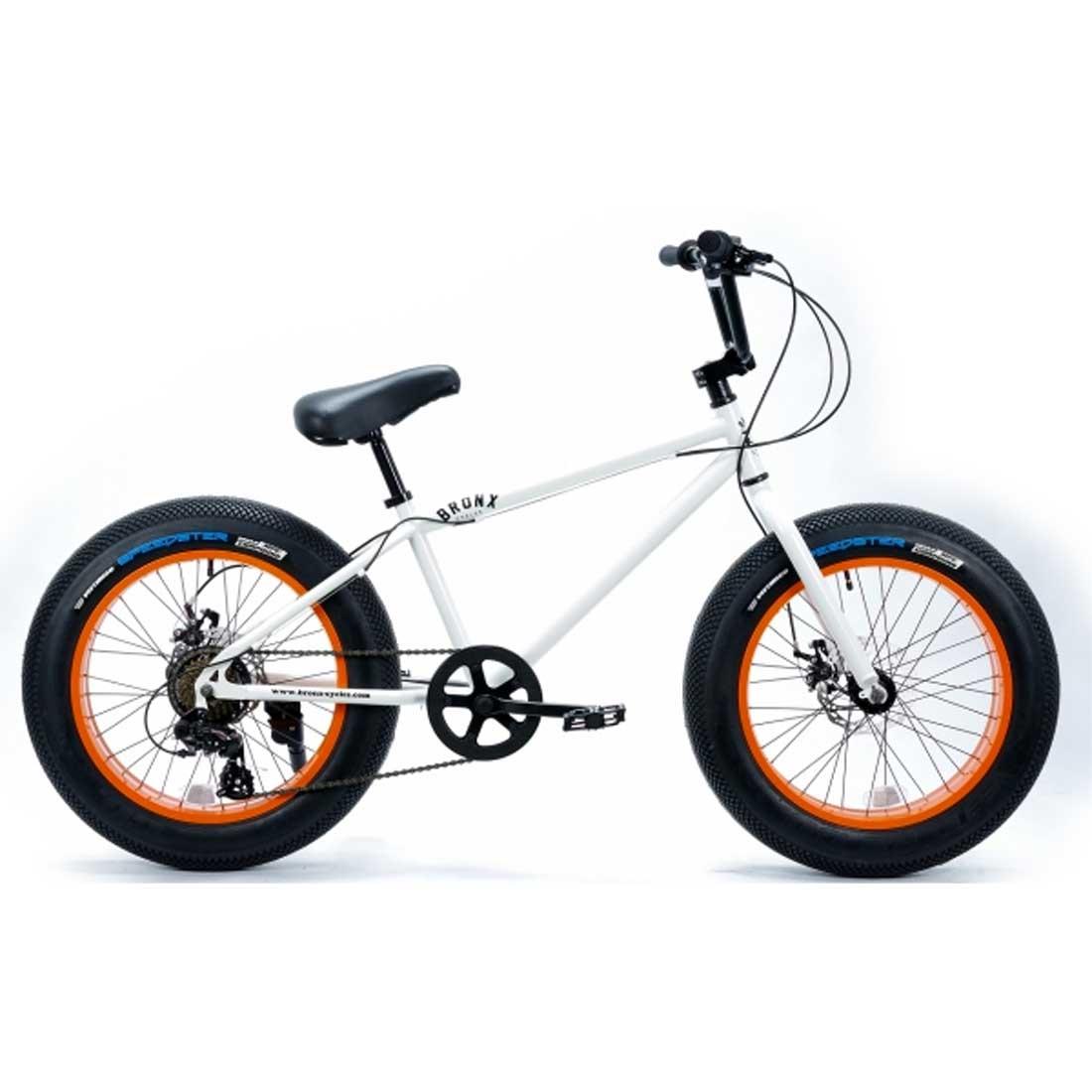 ファットバイク 20インチ 極太タイヤ ミニベロ 変速付 おしゃれ 自転車 通勤 通学 ブロンクスファットバイク 20BRONX-DD グロスホワイト×オレンジリム メンズ レディース