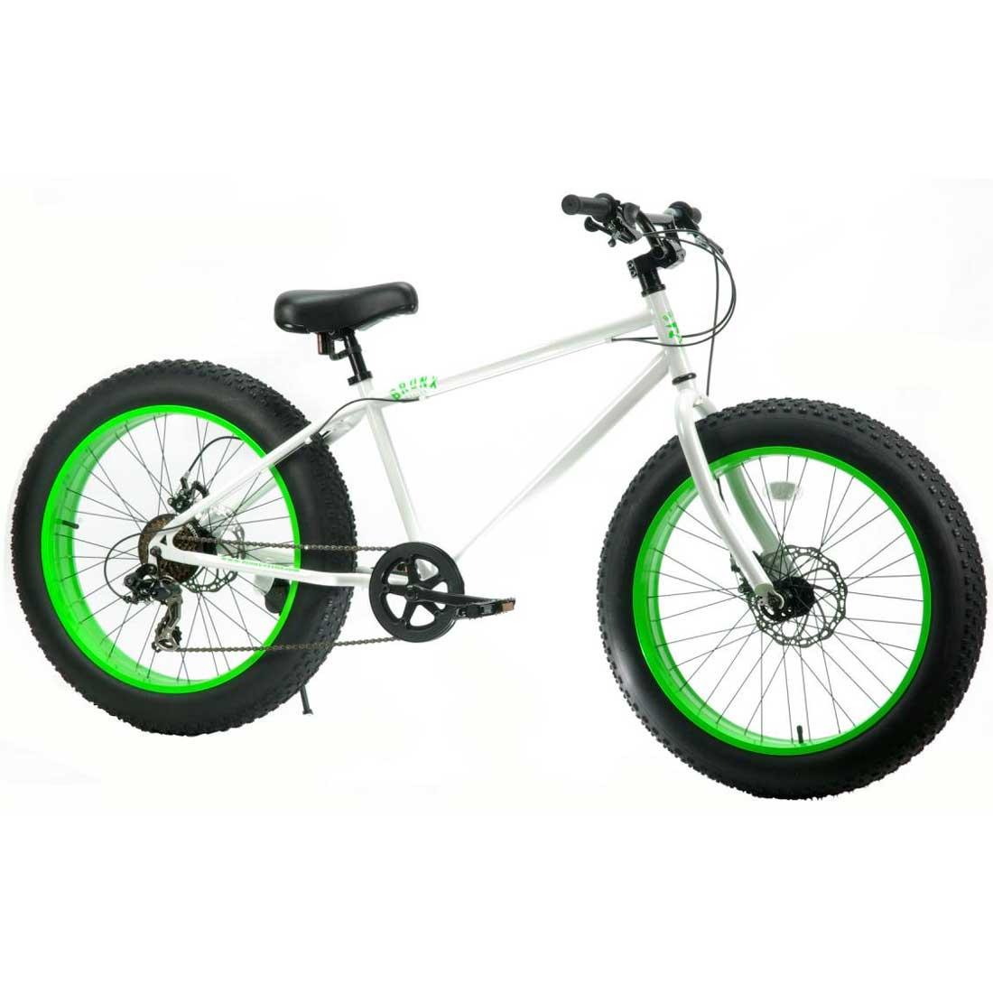 ファットバイク 24インチ 極太タイヤ 変速付 おしゃれ 自転車 通勤 通学 ブロンクスファットバイク 24BRONX-DD グロスホワイト×ライムリム メンズ レディース