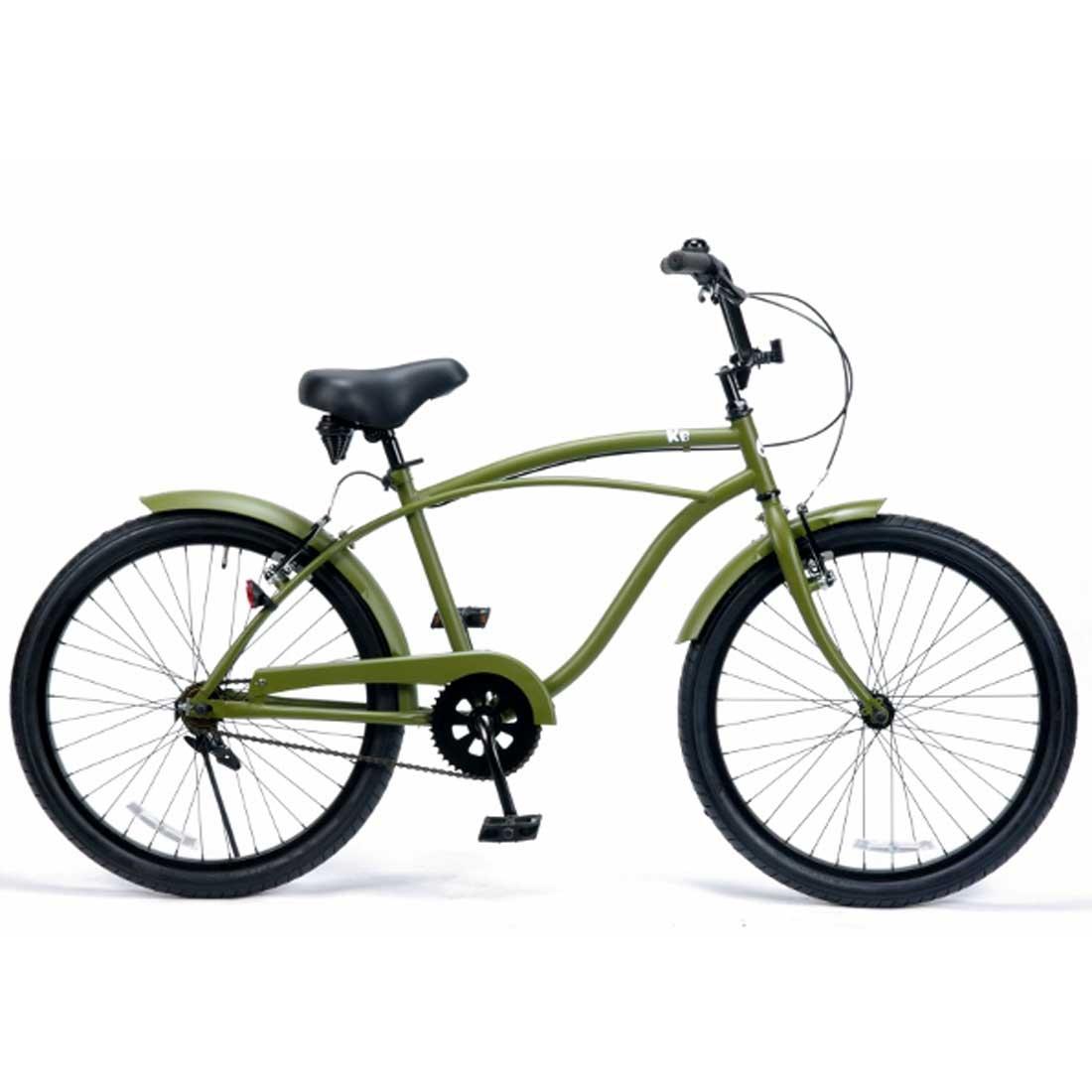 ビーチクルーザー 24インチ おしゃれ 自転車 通勤 通学 レインボービーチクルーザー 24KB-1SPEED マットカーキー メンズ レディース ジュニア