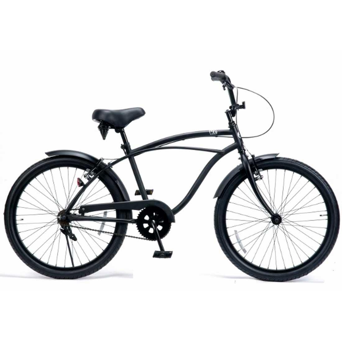 ビーチクルーザー 24インチ おしゃれ 自転車 通勤 通学 レインボービーチクルーザー 24KB-1SPEED マットブラック メンズ レディース ジュニア