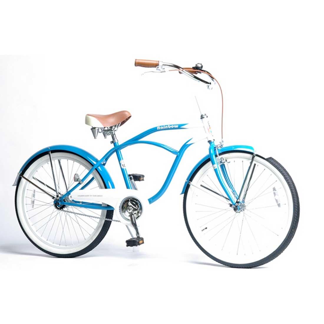 ビーチクルーザー 24インチ おしゃれ 自転車 通勤 通学 レインボービーチクルーザー 24TOWN サニーブルー レディース メンズ