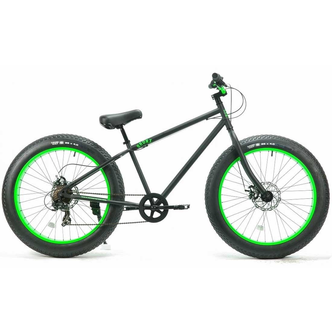 ファットバイク 26インチ 極太タイヤ 変速付 おしゃれ 自転車 通勤 通学 ブロンクスファットバイク 26BRONX-DD マットブラック×ライムリム メンズ レディース