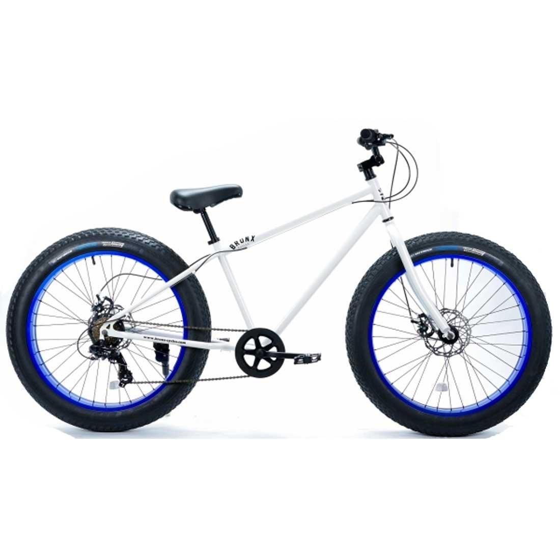 ブロンクス ファットバイク レインボー ビーチクルーザー 26インチ 極太タイヤ おしゃれ 自転車 通勤 通学 メンズ レディース マウンテンバイク 7段変速 26BRONX-DD グロスホワイト×ブルーリム