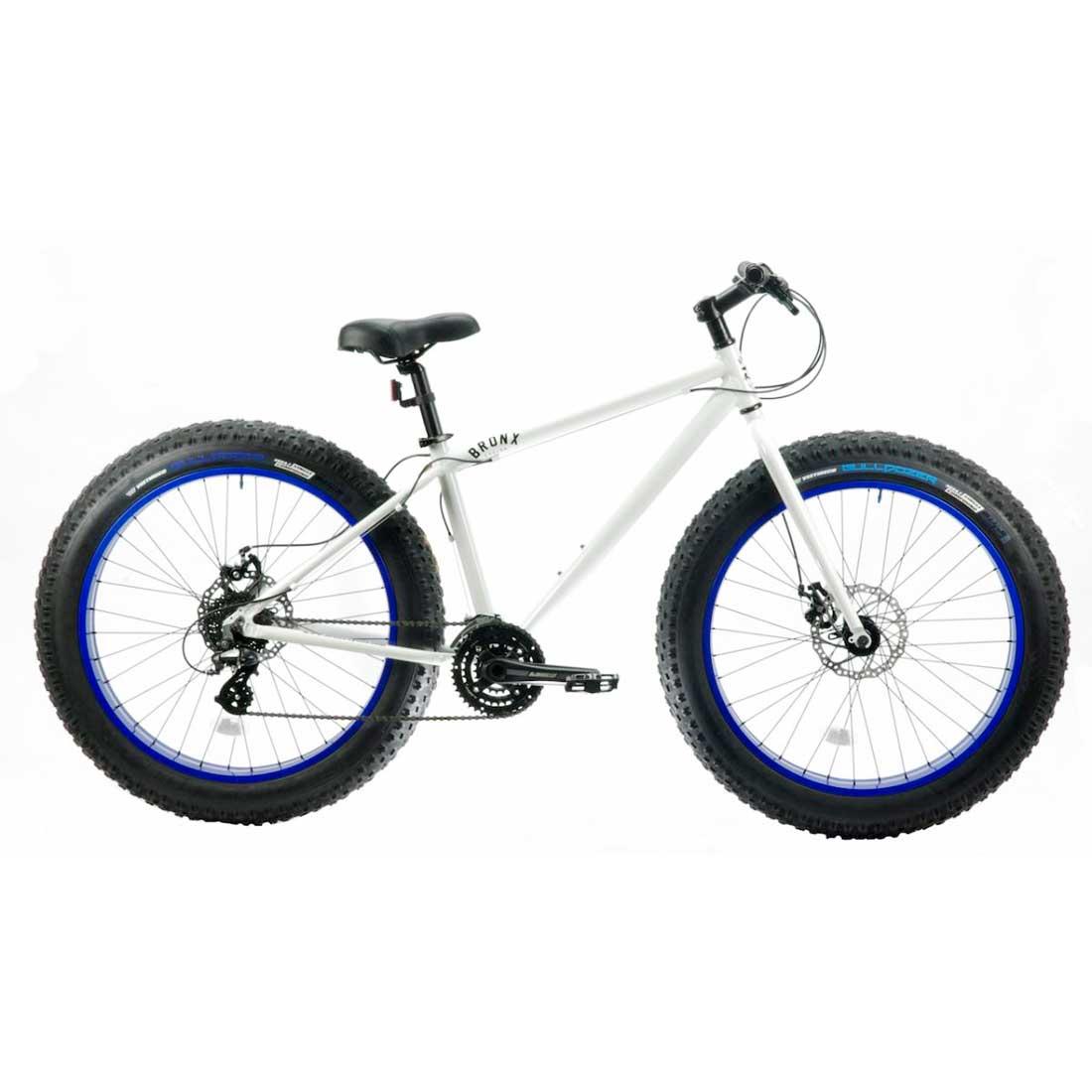 ファットバイク 26インチ 極太タイヤ 軽量 マウンテンバイク 24段変速 おしゃれ 自転車 通勤 通学 ブロンクス 26BRONX-TRX グロスホワイト×ブルーリム メンズ レディース