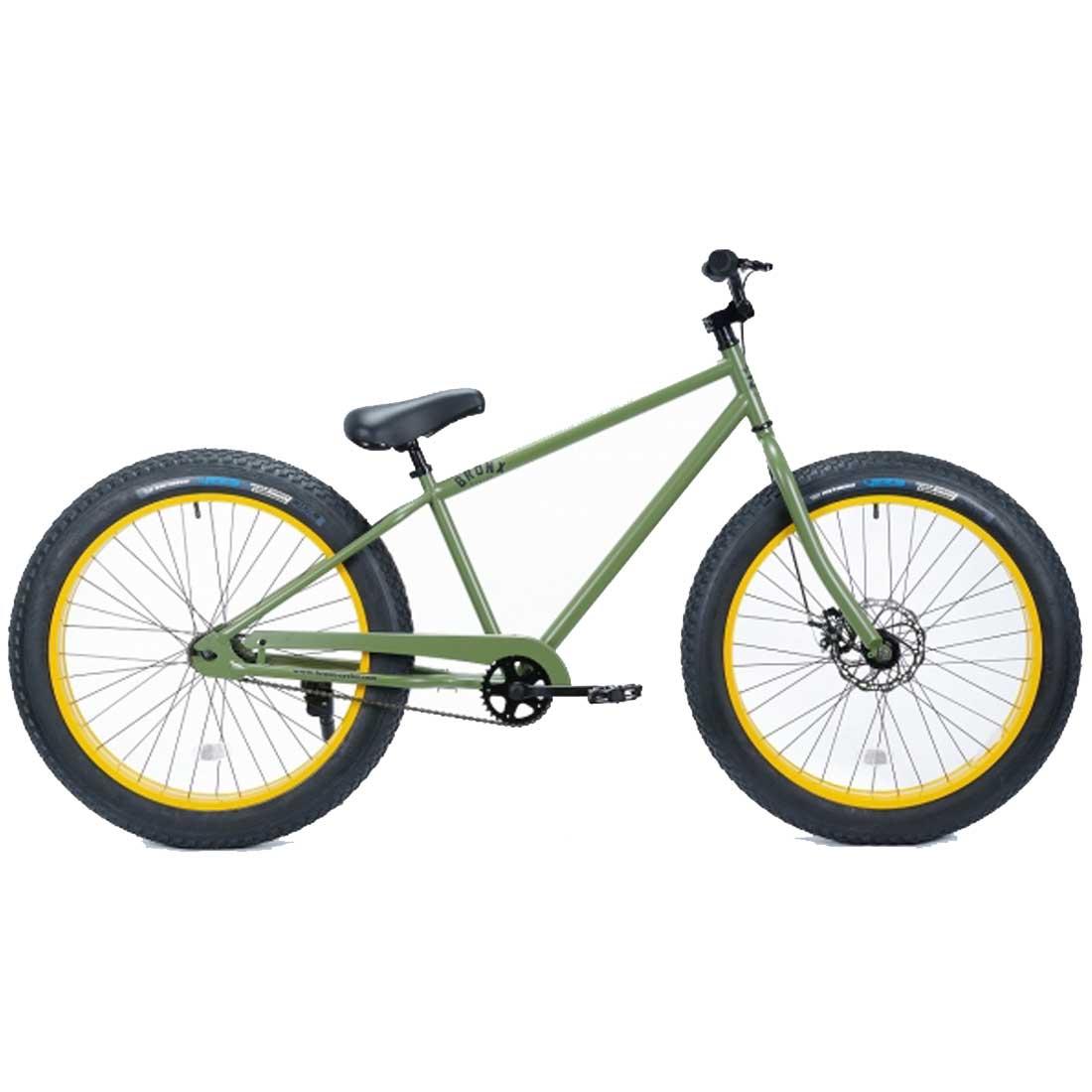 ファットバイク 26インチ 極太タイヤ おしゃれ 自転車 通勤 通学 ブロンクスファットバイク 26BRONX-4.0 アーミーグリーン×イエローリム メンズ レディース