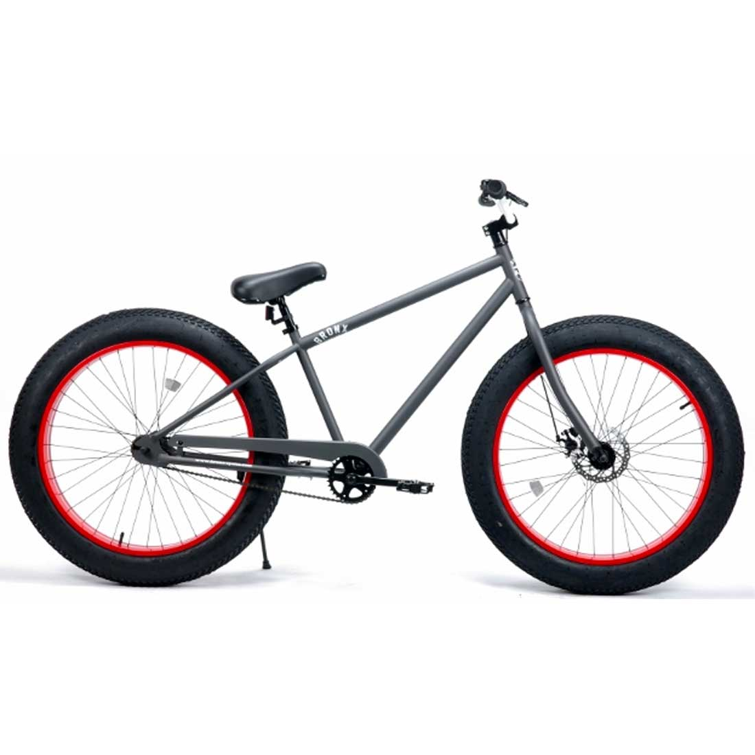 ファットバイク 26インチ 極太タイヤ おしゃれ 自転車 通勤 通学 ブロンクスファットバイク 26BRONX-4.0 マットグレー×レッドリム メンズ レディース