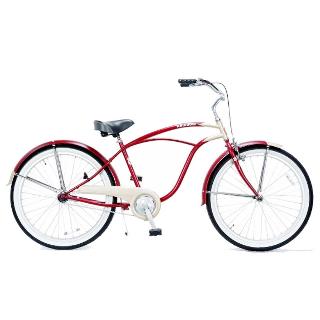 ビーチクルーザー 26インチ おしゃれ 自転車 通勤 通学 レインボービーチクルーザー 26mens-STD レッドチタン メンズ レディース
