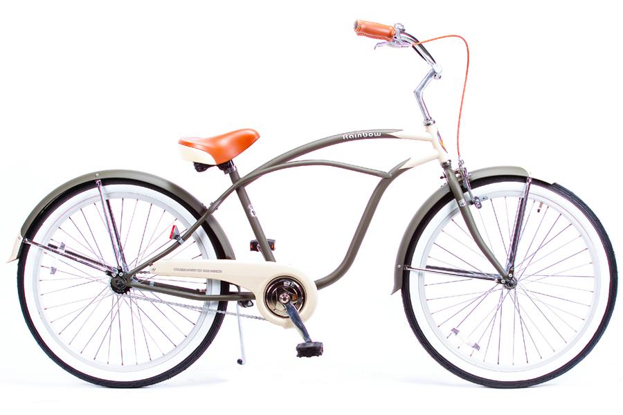 ビーチクルーザー 26インチ おしゃれ 自転車 通勤 通学 レインボービーチクルーザー 26mens-STD デザートサンド メンズ レディース