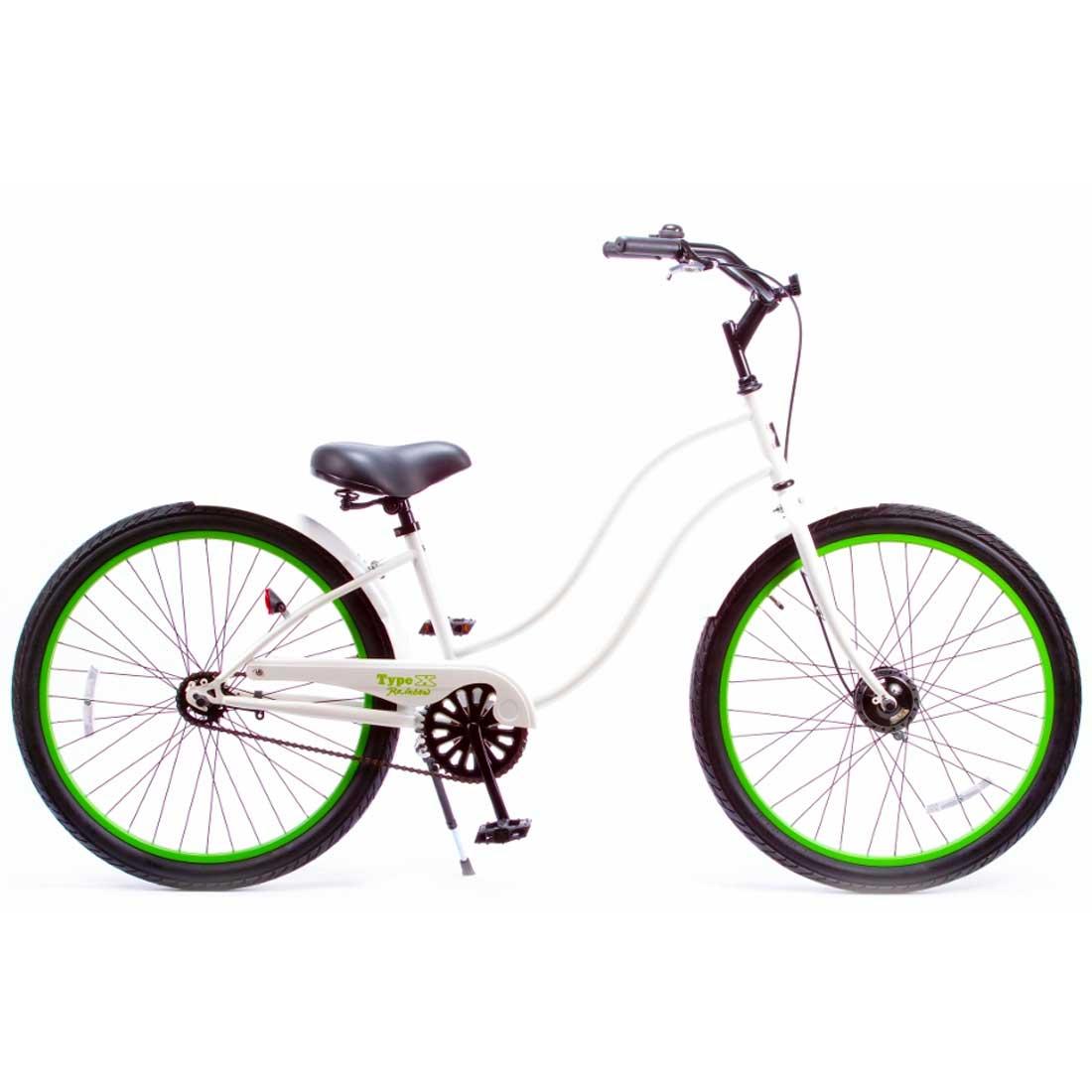 ビーチクルーザー 26インチ おしゃれ 自転車 通勤 通学 レインボービーチクルーザー 26TYPE-X-LADY グロスホワイト×ライムリム メンズ レディース
