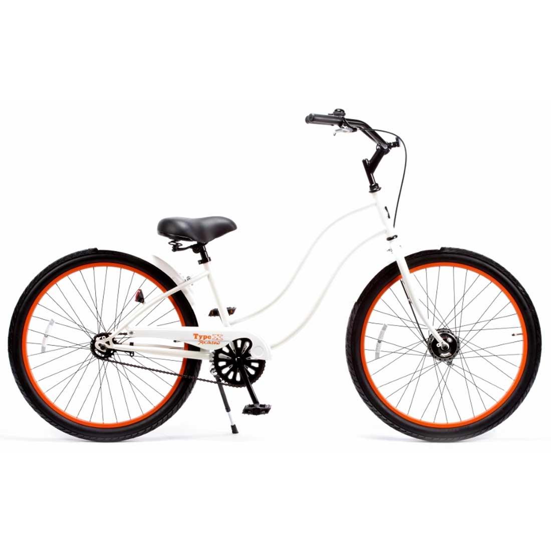 ビーチクルーザー 26インチ おしゃれ 自転車 通勤 通学 レインボービーチクルーザー 26TYPE-X-LADY グロスホワイト×オレンジリム メンズ レディース