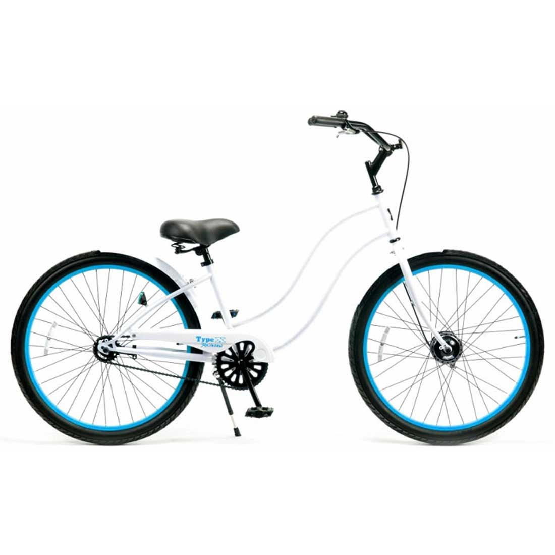 レインボー ビーチクルーザー 26インチ おしゃれ 自転車 通勤 通学 メンズ レディース 26TYPE-X-LADY グロスホワイト×スカイブルーリム