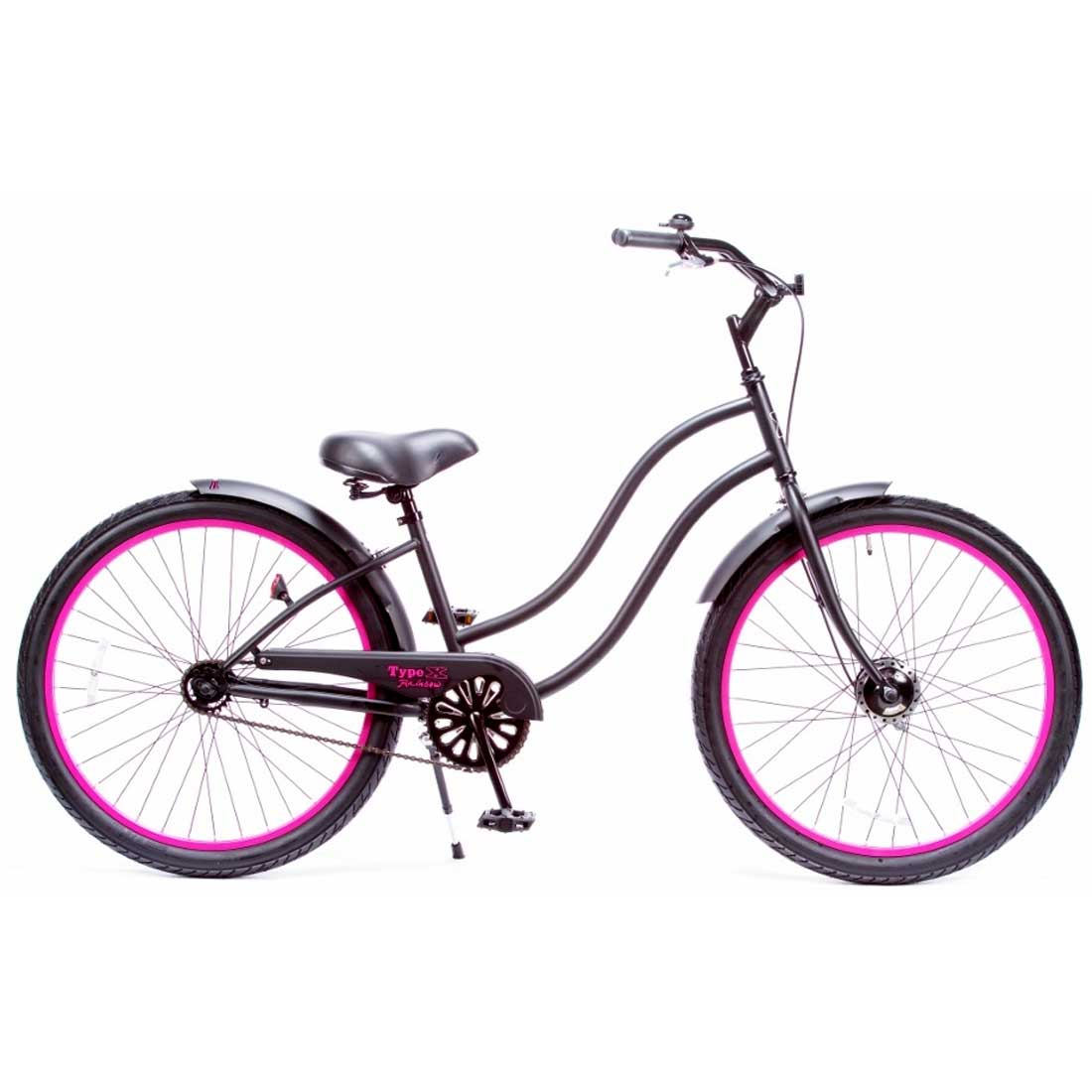 ビーチクルーザー 26インチ おしゃれ 自転車 通勤 通学 レインボービーチクルーザー 26TYPE-X-LADY マットブラック×ピンクリム メンズ レディース