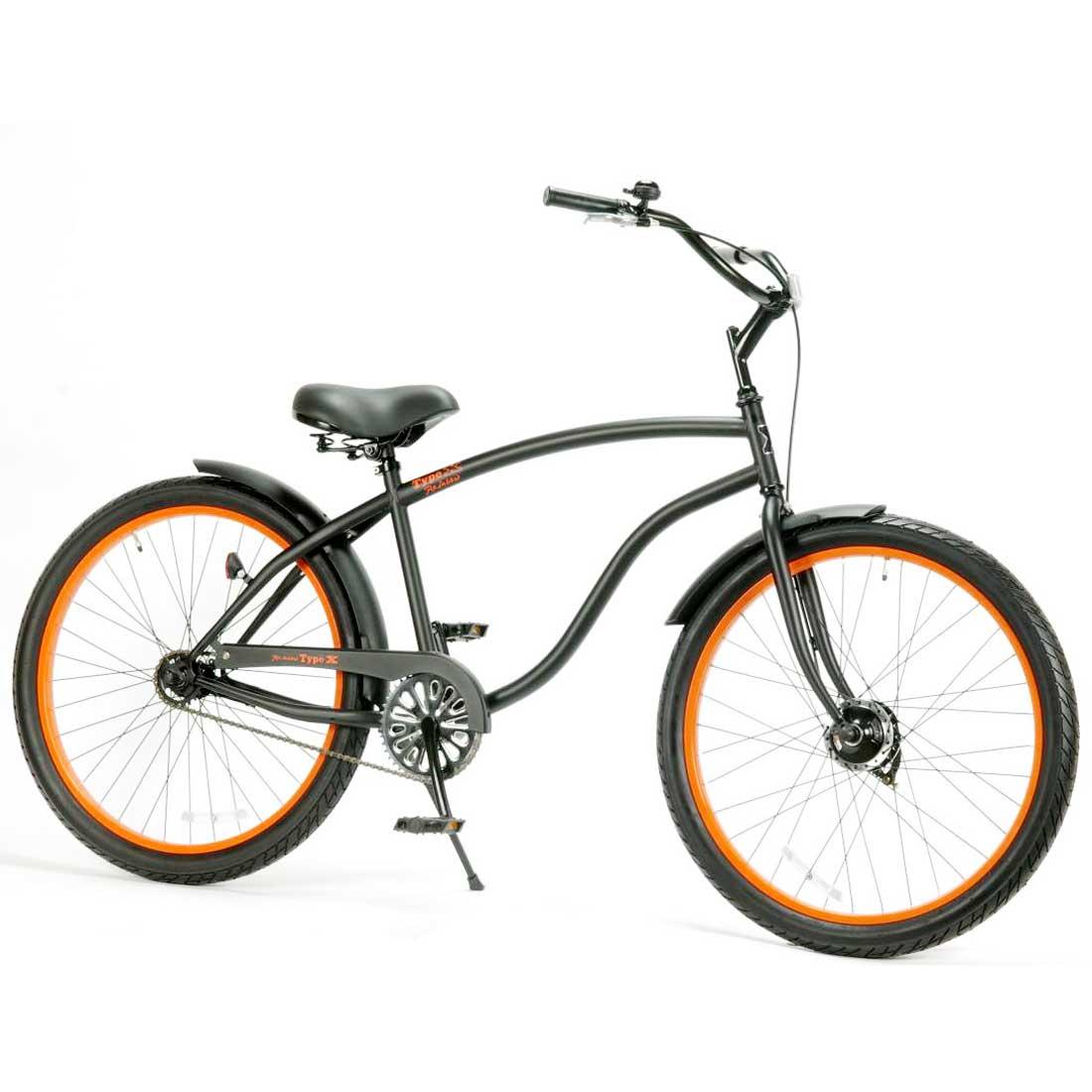ビーチクルーザー 26インチ おしゃれ 自転車 通勤 通学 レインボービーチクルーザー 26TYPE-X マットブラック×オレンジリム メンズ レディース