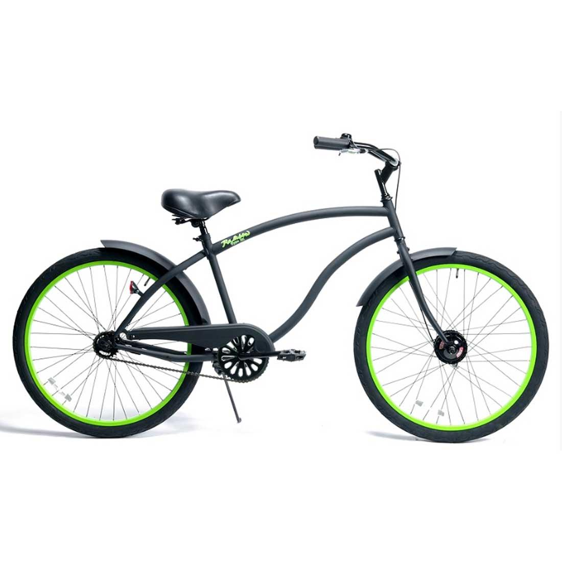 ビーチクルーザー 26インチ おしゃれ 自転車 通勤 通学 レインボービーチクルーザー 26TYPE-X マットブラック×グリーンリム メンズ レディース