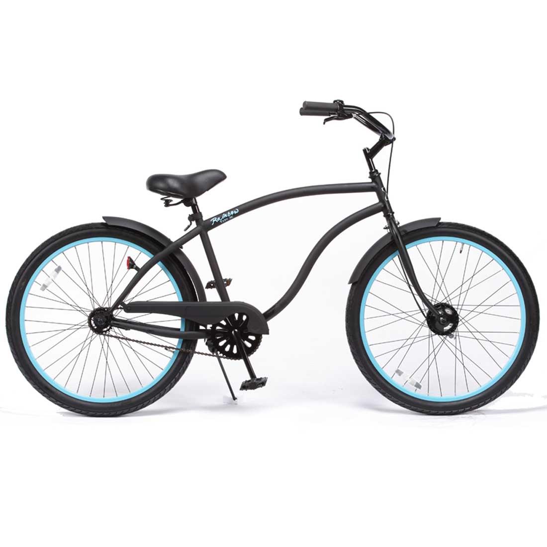 ビーチクルーザー 26インチ おしゃれ 自転車 通勤 通学 レインボービーチクルーザー 26TYPE-X マットブラック×パウダーブルーリム メンズ レディース