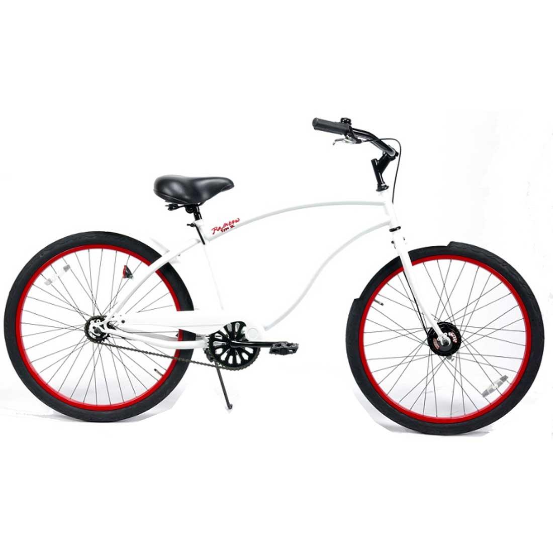 ビーチクルーザー 26インチ おしゃれ 自転車 通勤 通学 レインボービーチクルーザー 26TYPE-X グロスホワイト×レッドリム メンズ レディース