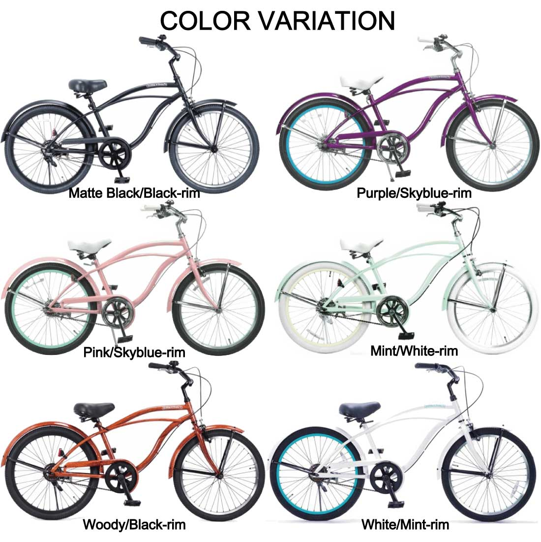 おしゃれ 自転車 通勤 通学 メンズ レディース 子供用自転車 22インチ ビーチクルーザー 自転車 ジュニア 小学生 レインボー Feelling of decks FOD-22