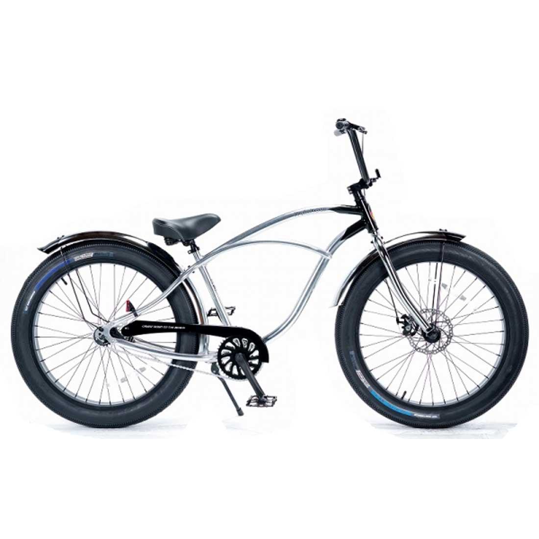 レインボー ビーチクルーザー ファットバイク 26インチ おしゃれ 自転車 通勤 通学 メンズ レディース GREASE-3.5-1sp クロームポリッシュ