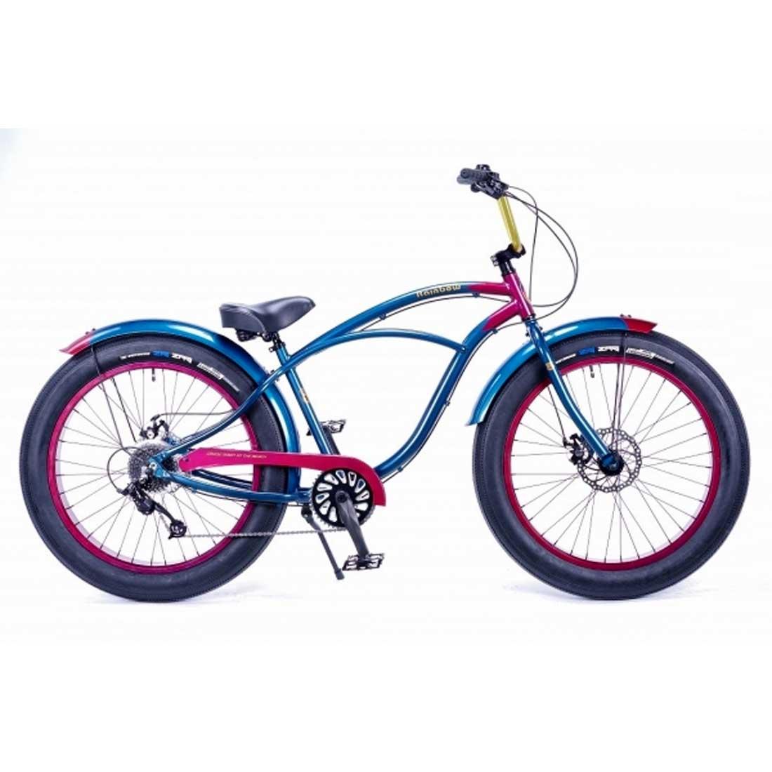レインボー ビーチクルーザー ファットバイク 26インチ 8段変速付 おしゃれ 自転車 通勤 通学 メンズ レディース GREASE-4.0 キャプテン(ブルー×レッド)