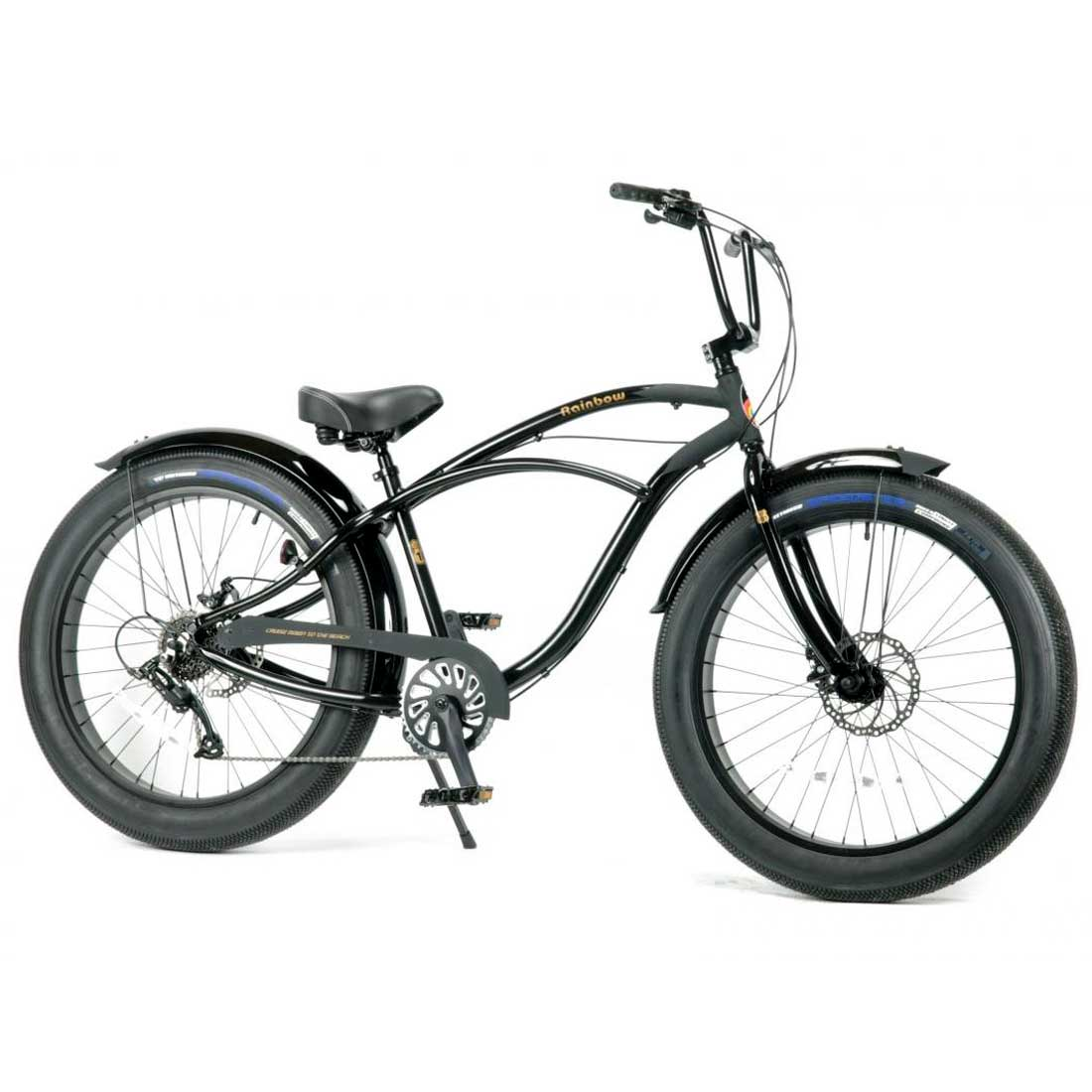 レインボー ビーチクルーザー ファットバイク 26インチ 8段変速付 おしゃれ 自転車 通勤 通学 メンズ レディース GREASE-4.0 スペードブラック