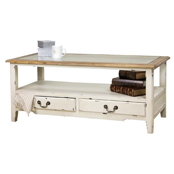 blossom コーヒーテーブル パイン材 ガラステーブル  ホワイト アンティーク フレンチ カントリー AZCOL013