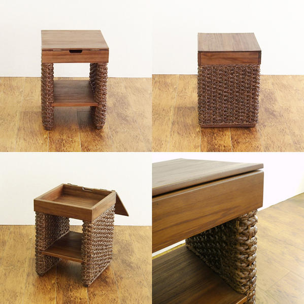 @CBi (ACB) Asian Side Table Night Table Water Hyacinth Teak ACT100KA Ethnic  Storage Japanese Japanese Bali Viet Nam Thailand