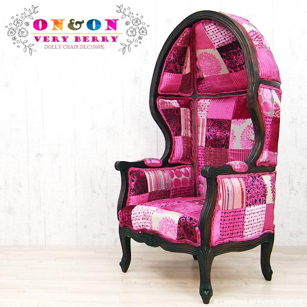 開梱設置 DOLLY CHAIR ドール チェアー 椅子 ソファー 1P 一人掛け 一人用 ハイバック 木製 パッチワーク ベルベット インテリア アジアン家具 ボヘミアン おしゃれ ピンク pink 水玉 DLC100PK ON&ON
