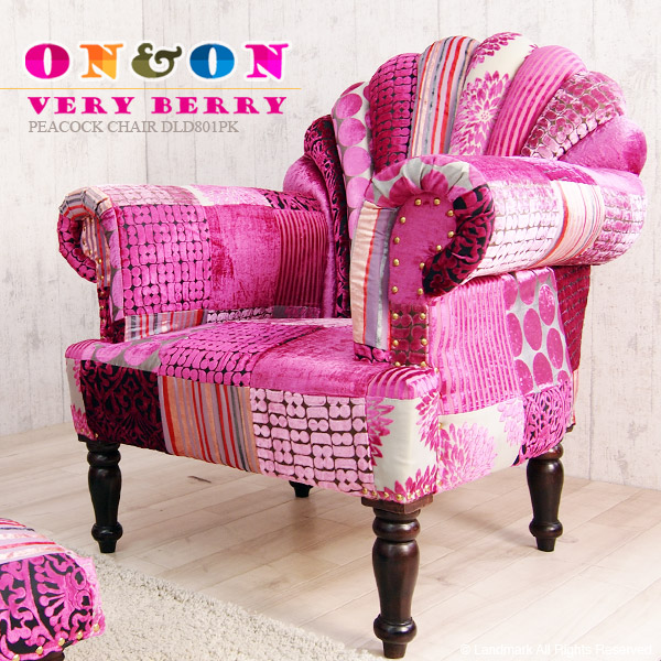ピーコックチェアー ソファー 1P 一人掛け パーソナルチェア パッチワーク ソファー ベルベット アジアン家具 北欧 ミッドセンチュリー UK クラシック ボヘミアン pink ピンク VERTYBERRY DLD801PK ON&ON