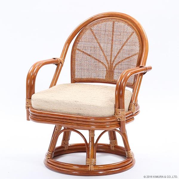 【あす楽】籐 回転座椅子 ハイタイプ C722HRH1 背クッション無し【 回転 座椅子 イス チェア 和 座椅子 ラタンチェア リラックス椅子 アジアン 激安 イス チェア CT14