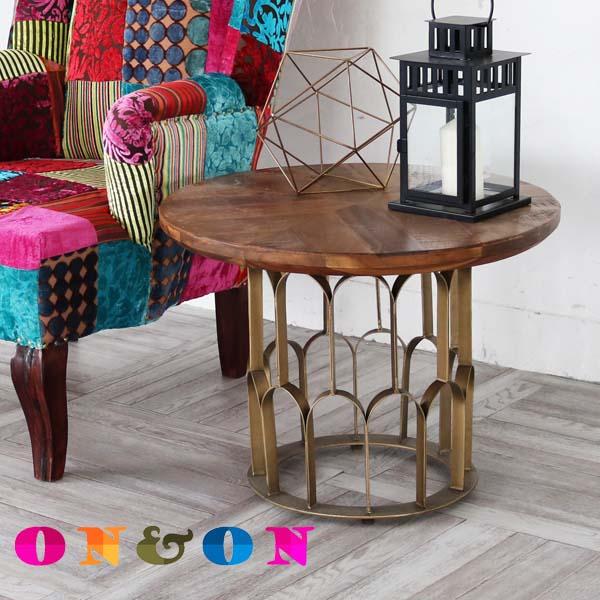 サイドテーブル おしゃれ 木製 真鍮 丸い 丸型 花台 北欧 カフェ風 アンティーク クラシック ヴィンテージ調 ナチュラル ON&ON 円形 ボヘミアン 机 DVT060DM