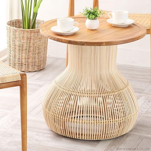 サイドテーブル カフェテーブル 机 ナイトテーブル ベッドサイドテーブル 花瓶台 フラワースタンド 玄関 チーク無垢 木製 籐 ラタン おしゃれ ナチュラル カフェ エスニック 北欧 西海岸 ブルックリン