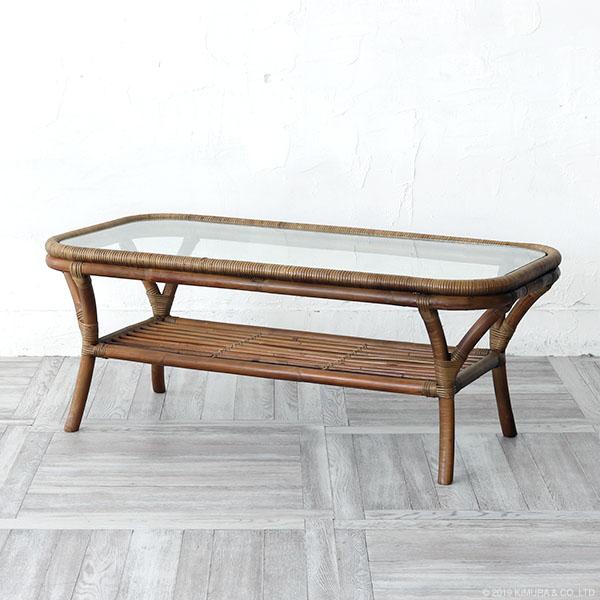 あす楽 送料無料 センターテーブル ローテーブル リビングテーブル ソファテーブル 机 籐 ラタン 木製 ガラス 収納 おしゃれ 北欧 ヨーロピアン アジアン ナチュラル シンプル BREEZE ブリーズ T1271GY CT19