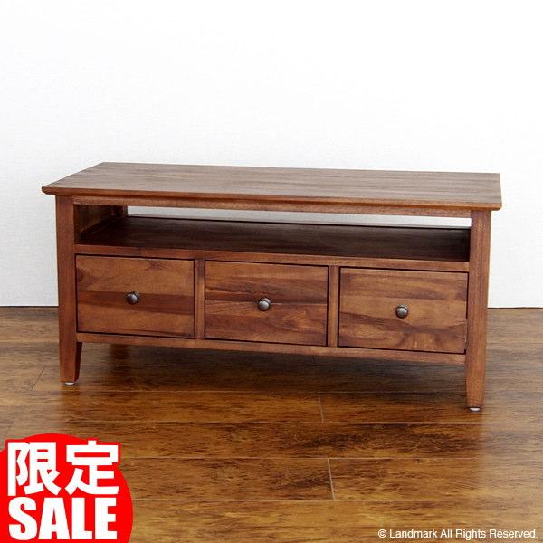 【スーパーSALE】アジアン家具 チーク無垢 木製 テレビ台 ローボード TV台 幅92cm チーク材 天然木 AV収納 G673KA