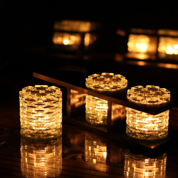 アジアン雑貨 キャンドルホルダー グラス型 3灯(トリプル) バリのアジアン ガラス細工 アロマ バリ タイ ベトナム キャンドル立て キャンドルスタンド ろうそく立て バリ雑貨 インテリア