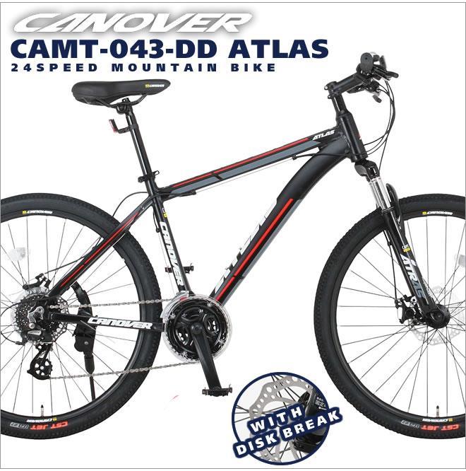 マウンテンバイク 26インチ 自転車 シマノ24段変速 前後ディスクブレーキ カノーバー CANOVER ATLAS 送料無料