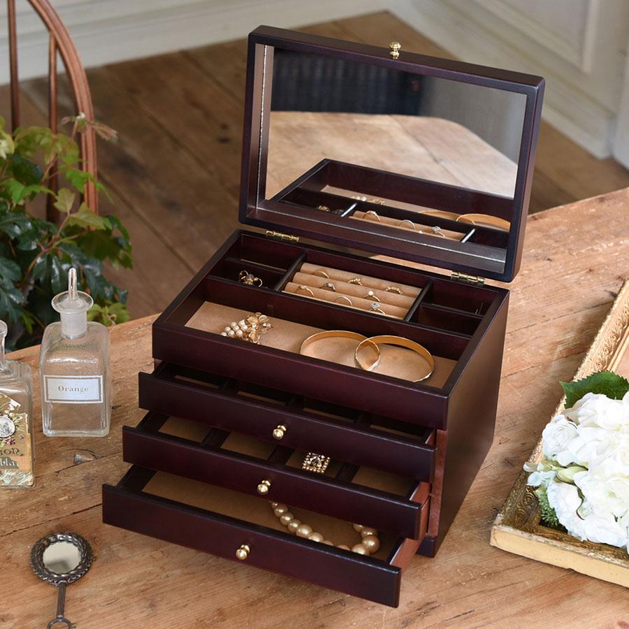 ジュエリーボックス 大容量 木製 ジュエルケース 宝石箱 日本製 木製ジュエルケース 三ツ引 17-806