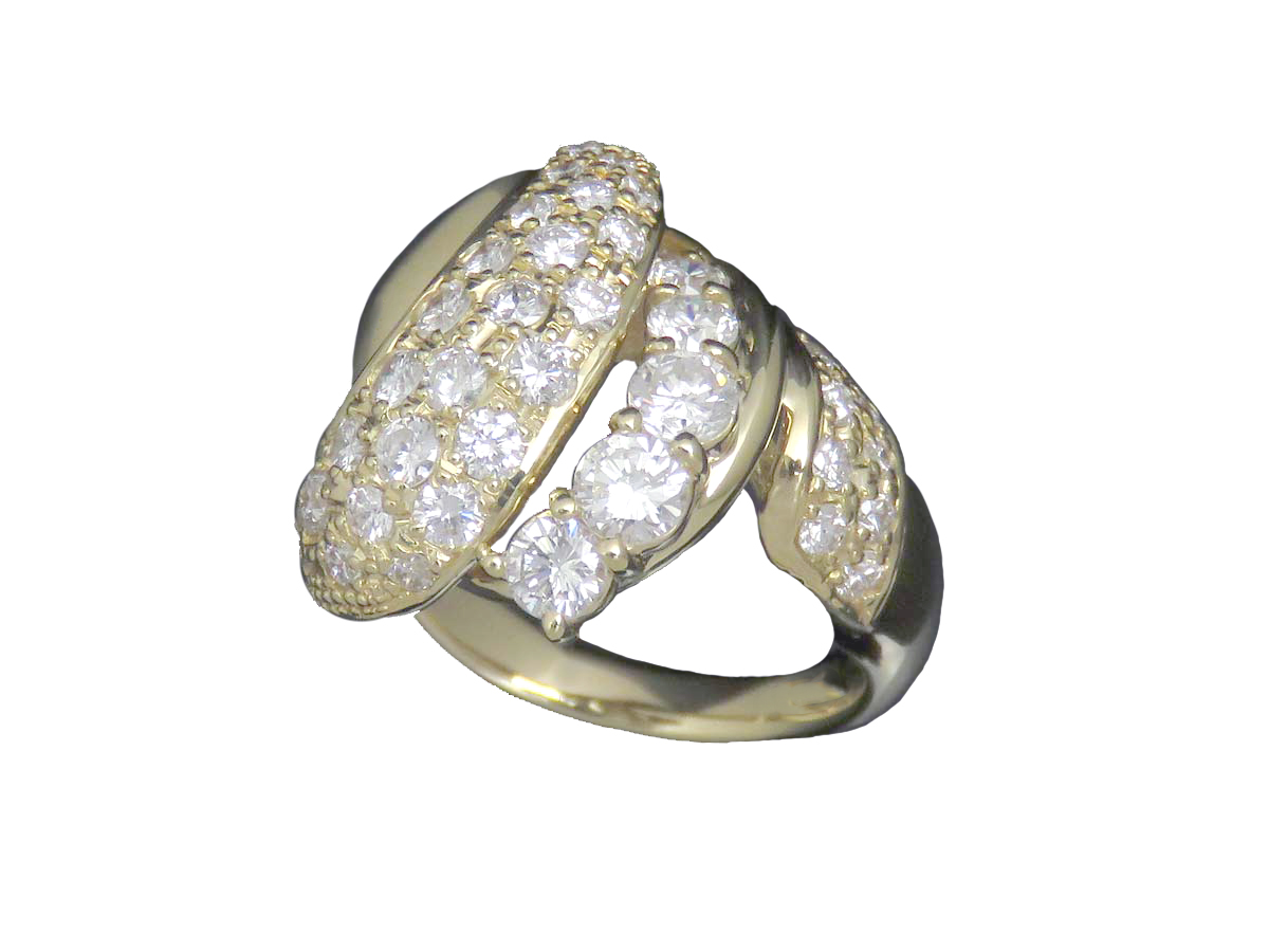 【SALE】K18YG ダイヤ 約 1.52ct デザインリング【中古】