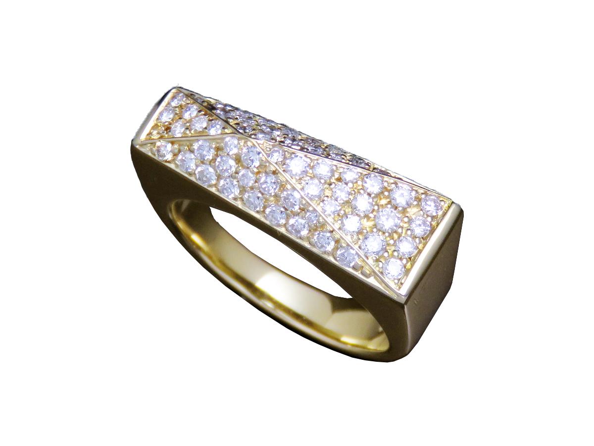 【SALE】【VERSACE/ヴェルサーチ】750YG ダイヤ デザインリング 約 11号 レセット 瀬戸質店【中古B】