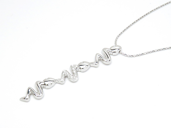 【SALE】750W/YG ダイヤ 約 0.08ct ヘビ スネークデザインネックレス【中古】