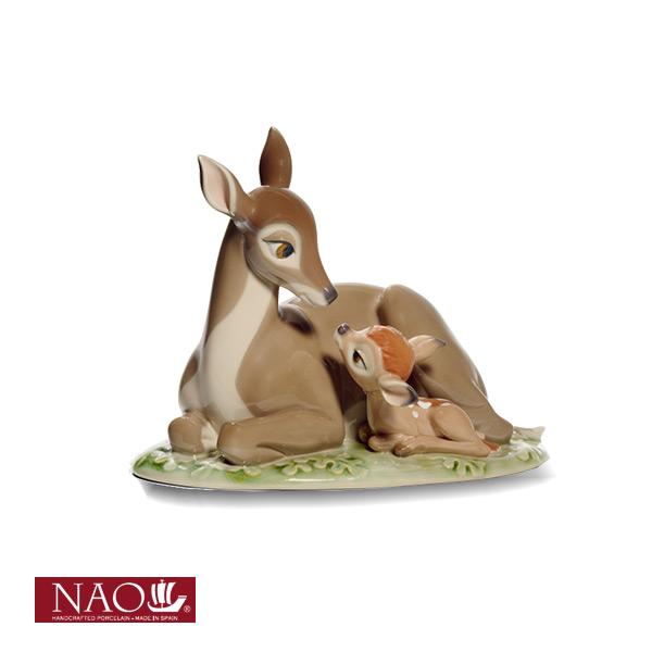 陶磁器製 手作り人形 NAO【バンビ】(高品質 人形 フィギュリン かわいい インテリア お祝い プレゼント ギフト オブジェ 置物 磁器製品 ディズニー キャラクター)