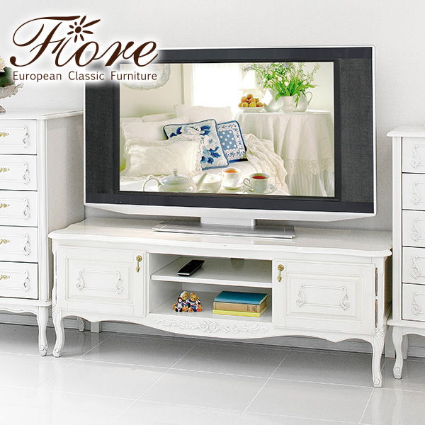 フィオーレ TVボード ワイド ホワイト(アンティーク調 クラシック 猫脚 姫系 可愛い テレビ台 テレビ 収納 おしゃれ 可愛い)